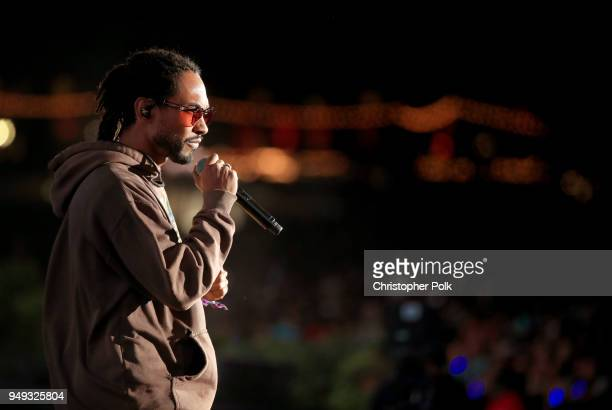 Miguel performs with Kygo onstage during the 2018 Coachella Valley Music And Arts Festival at the Empire Polo Field on April 20 2018 in Indio...