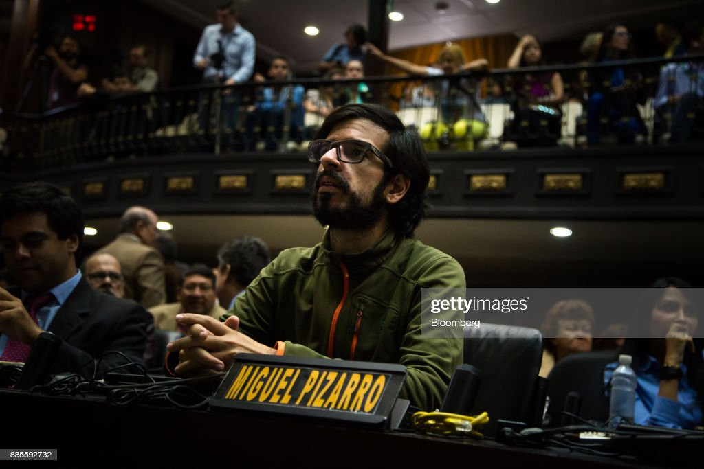 Miguel Pizzaro, deputy of the National Assembly, attends a special session of the National Assembly of Caracas, Venezuela, on Saturday, Aug. 19, 2017. Venezuela's new legislative super body took over the functions of the country's only remaining opposition-run institution -- the National Assembly -- by approving a decree that empowers it to pass laws on a range of issues. Photographer: Wil Riera/Bloomberg via Getty Images