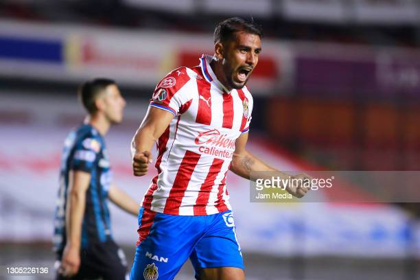 Miguel Ponce of Chivas celebrates after scoring the second goal of his team during the 9th round match between Queretaro and Chivas as part of the...