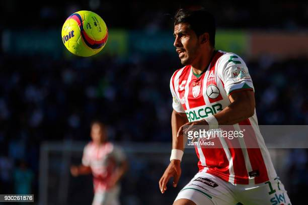 Miguel Ponce of Necaxa controls the ball during the 11th round match between Queretaro and Necaxa as part of the Torneo Clausura 2018 Liga MX at La...