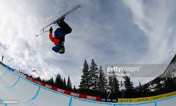Miguel Porteous of New Zealand competes in the qualifying round of the FIS Freestyle Ski World Cup 2015 men's ski halfpipe heat 1 during the USSA...