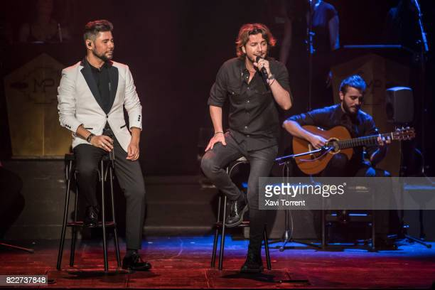 Miguel Poveda and Manuel Carrasco perform on stage during the 'Miguel Poveda Amigos' Gala at Gran Teatre del Liceu on July 25 2017 in Barcelona Spain