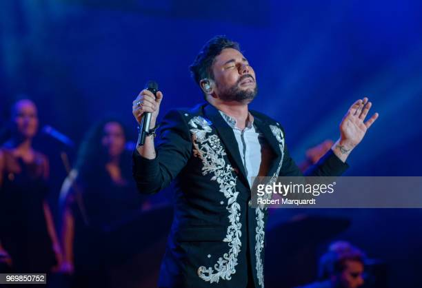 Miguel Poveda performs on stage during the Pedralbes Music Festival 2018 held at the Festival Jardins de Pedralbes on June 8 2018 in Barcelona Spain