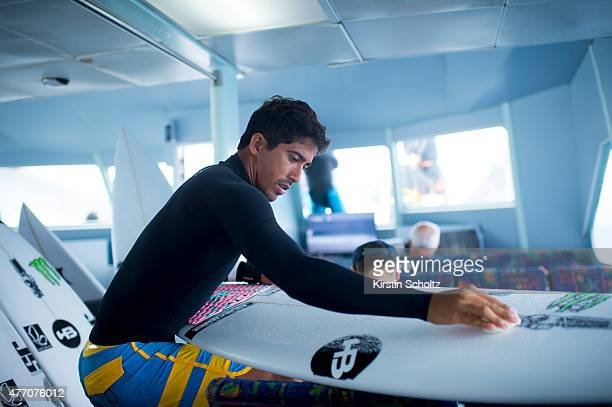 Miguel Pupo of Brasil waxes his surfboard at the Fiji Pro on June 14 2015 in Tavarua Fiji
