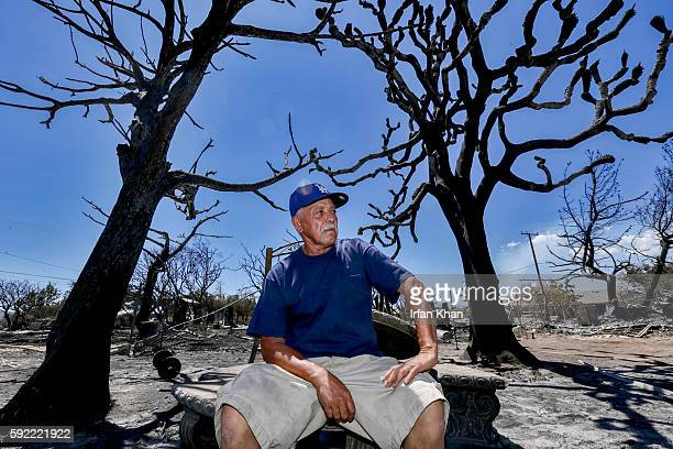 Miguel Ramos sits among charred tree and remains after the devastation caused by Blue Cut Fire that swept through his residence on 6500 block of Oak...