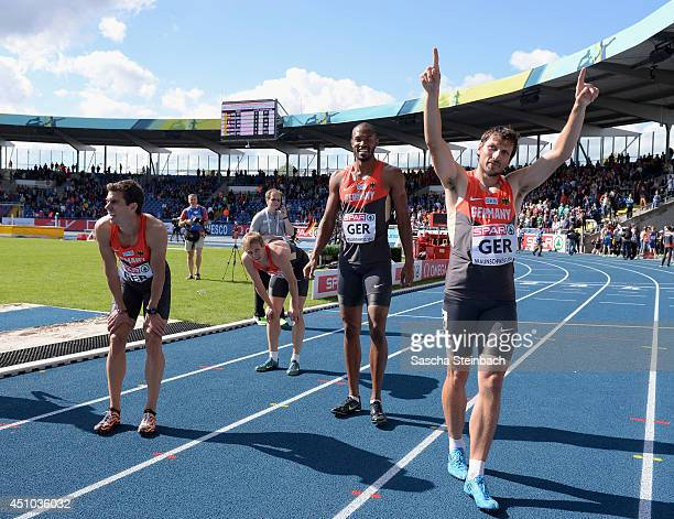 Miguel Rigau Kamghe Gaba David Gollnow and Thomas Schneider of Germany celebrate after the Men's 4x400m Relay during second day of the European...