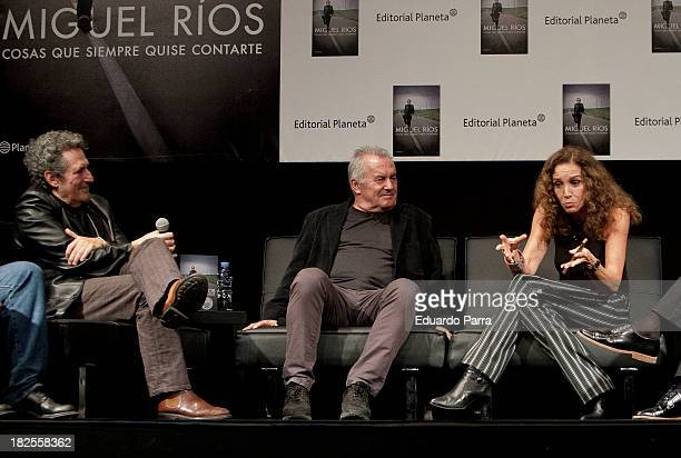 Miguel Rios Victor Manuel and Ana Belena attend 'Cosas Que Siempre Quise Contarte' press conference at Lara theatre on September 30 2013 in Madrid...