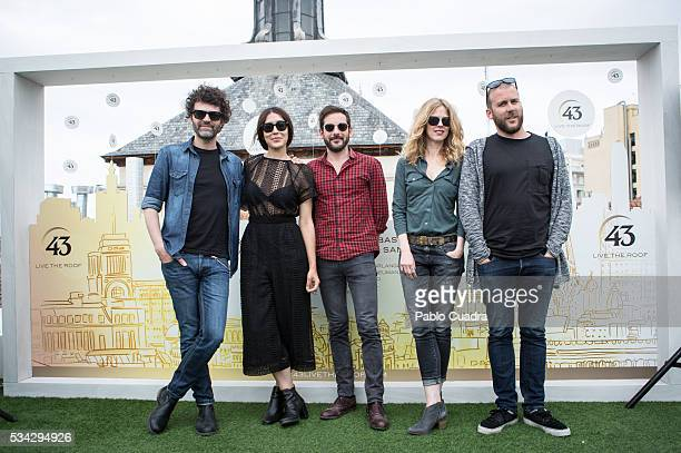 Miguel Rivera Anni B Sweet Christina Rosenvinge and Mario Diaz attend the '43Live Roof' photocall at Gymage Lounge Resort on May 25 2016 in Madrid...