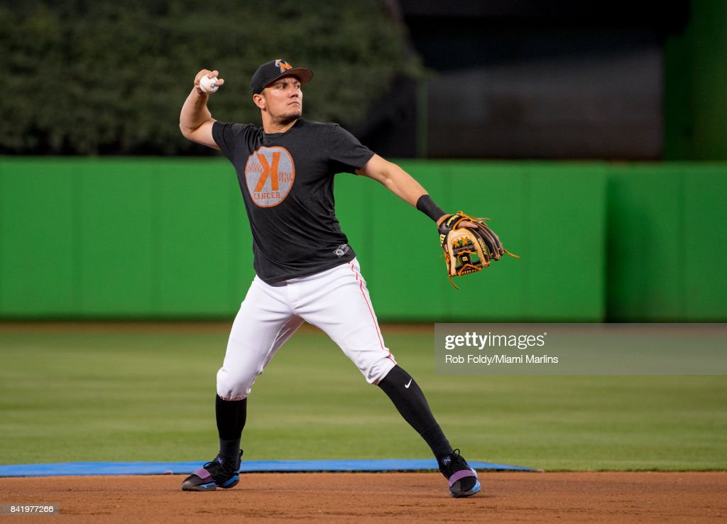 Miguel Rojas #19 of the Miami Marlins before the game against the Philadelphia Phillies at Marlins Park on September 2, 2017 in Miami, Florida.