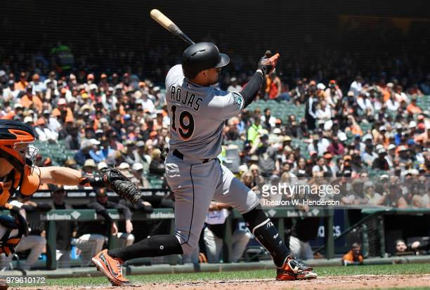 Gorkys Hernandez of the San Francisco Giants hits a tworun rbi single against the Miami Marlins in the bottom of the six inning at ATT Park on June...