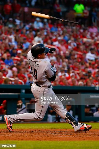 Miguel Rojas of the Miami Marlins looses his bat while swinging at a pitch against the St Louis Cardinals in the third inning at Busch Stadium on...