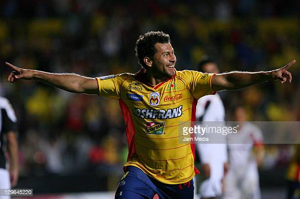 Miguel Sabah of Morelia celebrate a scored goal as part of the Concacaf Champions League 20112012 at Morelos Stadium on October 18 2011 in Morelia...
