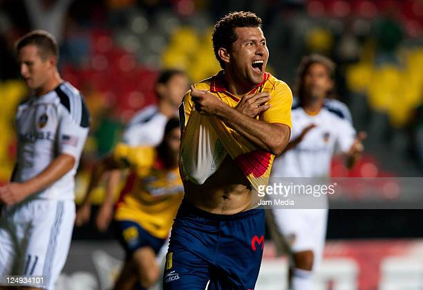 Miguel Sabah of Morelia celebrates a scored goal during a match against LA Galaxy as part of thet of the Concacaf Champions League 20112012 at...