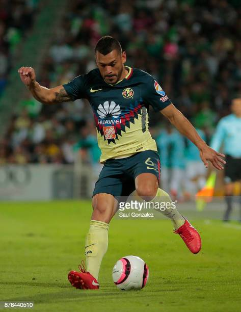 Miguel Samudio of America plays the ball during the 17th round match between Santos Laguna and America as part of the Torneo Apertura 2017 Liga at...