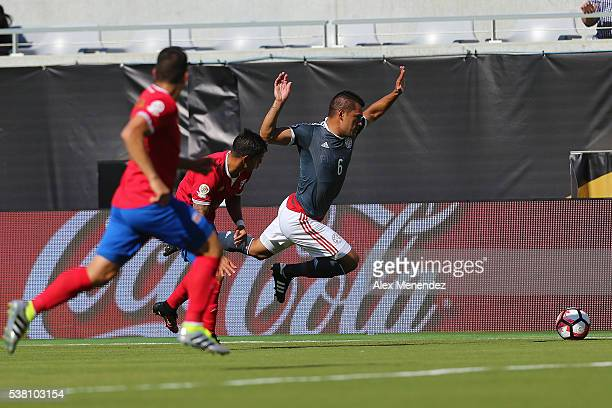 Miguel Samudio of Paraguay gets tripped during the 2016 Copa America Centenario Group A match between Costa Rica and Paraguay at Camping World...