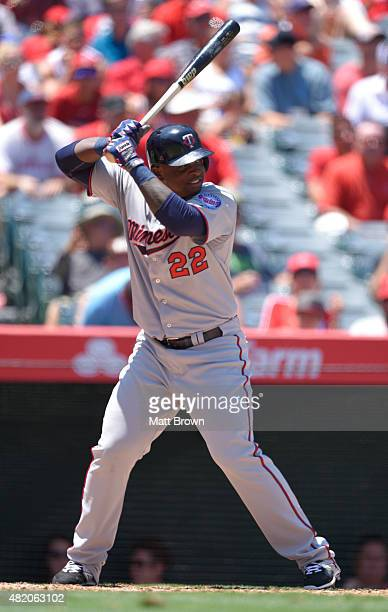 Miguel Sano of the Minnesota Twins at bat during the game against the Los Angeles Angels of Anaheim at Angel Stadium of Anaheim on July 23 2015 in...