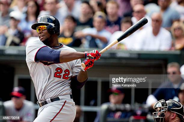 Miguel Sano of the Minnesota Twins at bat in the first inning of play against the Chicago White Sox at US Cellular Field on September 13 2015 in...