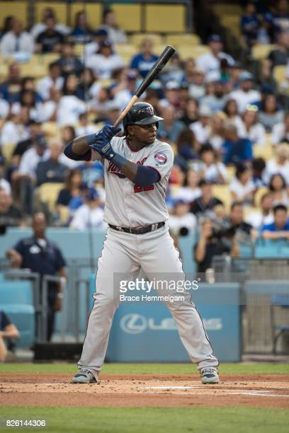Miguel Sano of the Minnesota Twins bats against the Los Angeles Dodgers on July 24 2017 at Dodger Stadium in Los Angeles California The Dodgers...