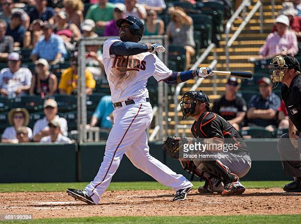 Miguel Sano of the Minnesota Twins bats against the Miami Marlins at the CenturyLink Sports Complex on March 12 2015 in Fort Myers Florida