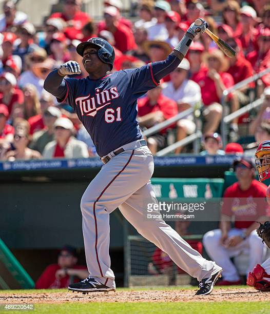 Miguel Sano of the Minnesota Twins bats against the St Louis Cardinals on March 14 2015 at Roger Dean Stadium in Jupiter Florida