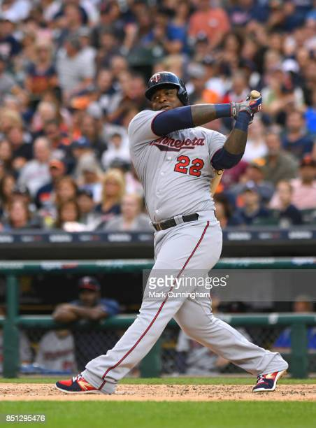 Miguel Sano of the Minnesota Twins bats during the game against the Detroit Tigers at Comerica Park on August 11 2017 in Detroit Michigan The Twins...