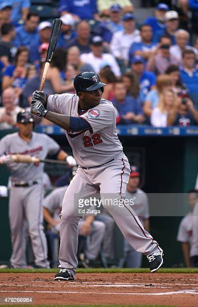 Miguel Sano of the Minnesota Twins bats in the second inning against the Kansas City Royals at Kauffman Stadium on July 2 2015 in Kansas City Missouri