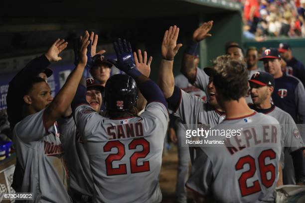 Miguel Sano of the Minnesota Twins celebrates a home run in the fifth inning against the Texas Rangers at Globe Life Park in Arlington on April 25...