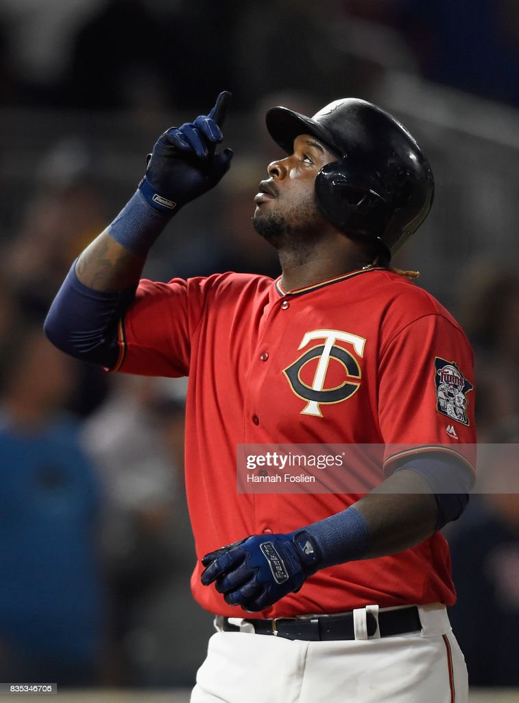 Miguel Sano #22 of the Minnesota Twins celebrates a solo home run against the Arizona Diamondbacks during the eighth inning of the game on August 18, 2017 at Target Field in Minneapolis, Minnesota. The Twins defeated the Diamondbacks 10-3.