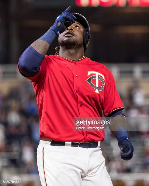 Miguel Sano of the Minnesota Twins celebrates after hitting a home run against the Arizona Diamondbacks on August 18 2017 at Target Field in...