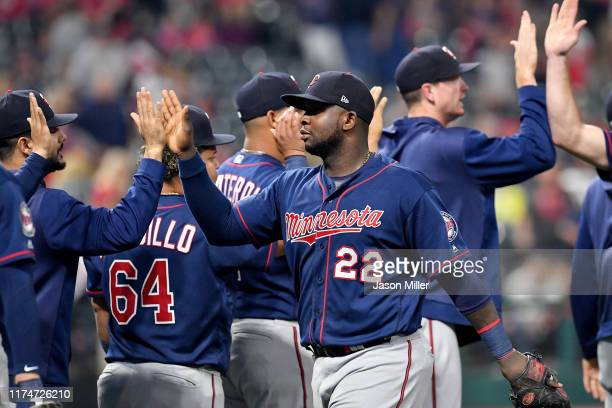 Miguel Sano of the Minnesota Twins celebrates after the Twins defeated the Cleveland Indians in the second game of a double header at Progressive...