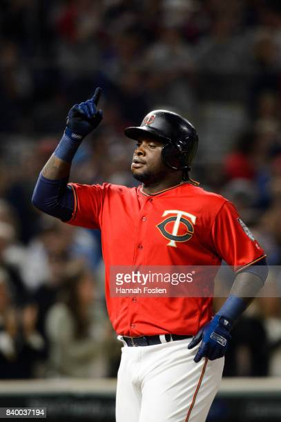 Miguel Sano of the Minnesota Twins celebrates hitting a home run against the Arizona Diamondbacks during the game on August 18 2017 at Target Field...