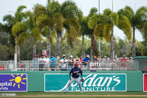Miguel Sano of the Minnesota Twins fields in the outfield against the Boston Red Sox during a spring training game on March 2 2016 at JetBlue Park in...