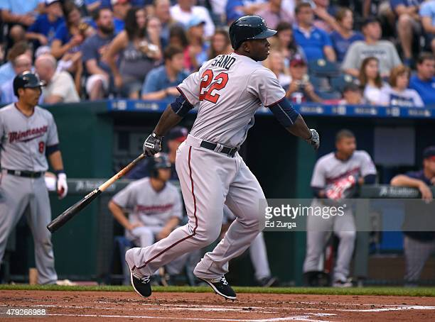 Miguel Sano of the Minnesota Twins flies out in the second inning against the Kansas City Royals at Kauffman Stadium on July 2 2015 in Kansas City...