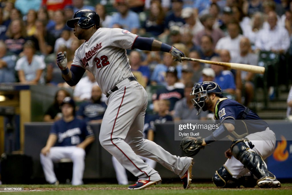 Miguel Sano #22 of the Minnesota Twins hits a single in the third inning against the Milwaukee Brewers at Miller Park on August 10, 2017 in Milwaukee, Wisconsin.