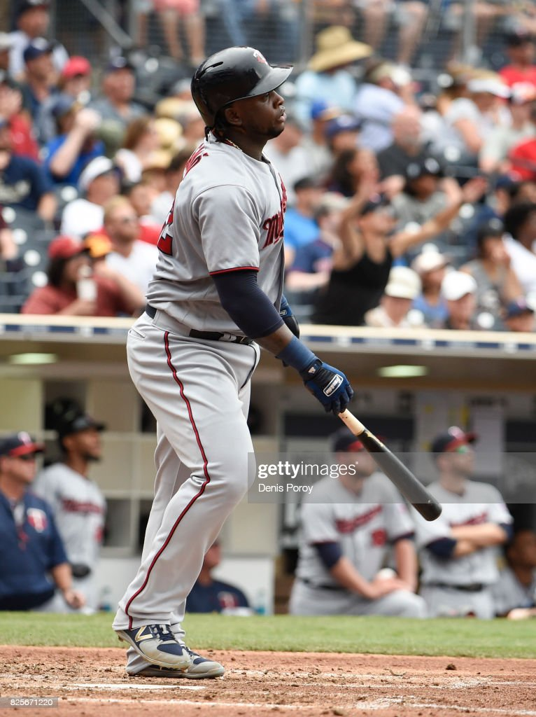 Miguel Sano #22 of the Minnesota Twins hits a solo home run during the sixth inning of a baseball game against the San Diego Padres at PETCO Park on August 2, 2017 in San Diego, California.