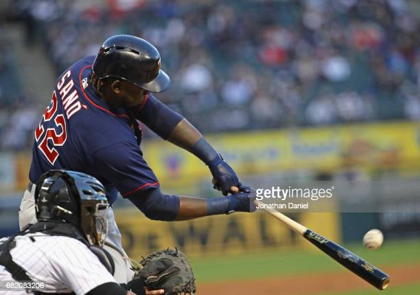 Miguel Sano of the Minnesota Twins hits a solo home run in the 2nd inning against the Chicago White Sox at Guaranteed Rate Field on May 11 2017 in...
