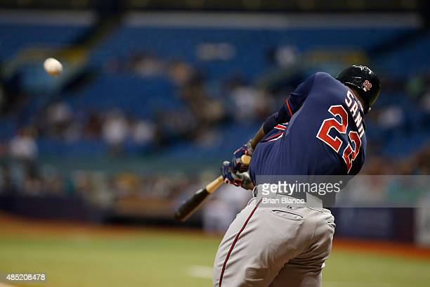 Miguel Sano of the Minnesota Twins hits a threerun home run off of pitcher Nathan Karns of the Tampa Bay Rays during the first inning of a game on...