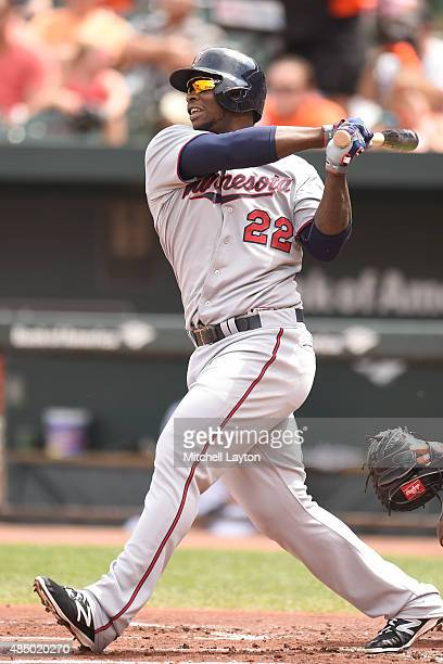 Miguel Sano of the Minnesota Twins hits a two run home run in the first inning during a baseball game against the Minnesota Twins at Oriole Park at...