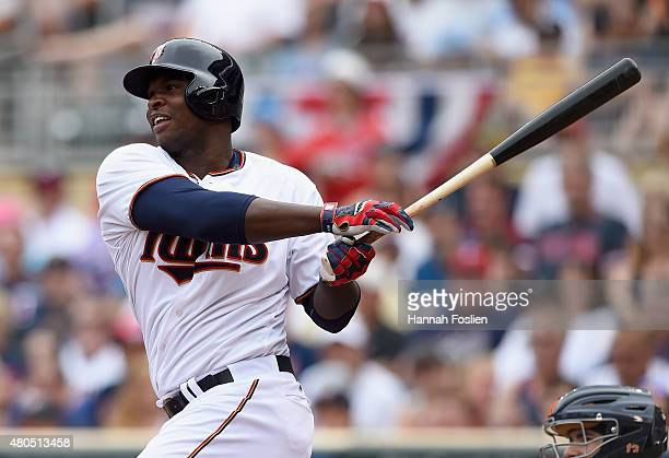 Miguel Sano of the Minnesota Twins hits a tworun home run against the Detroit Tigers during the first inning of the game on July 12 2015 at Target...