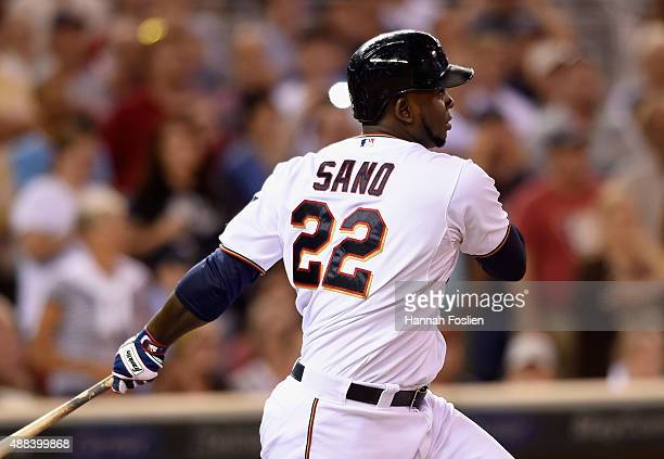 Miguel Sano of the Minnesota Twins hits a tworun single against the Detroit Tigers during the seventh inning of the game on September 15 2015 at...