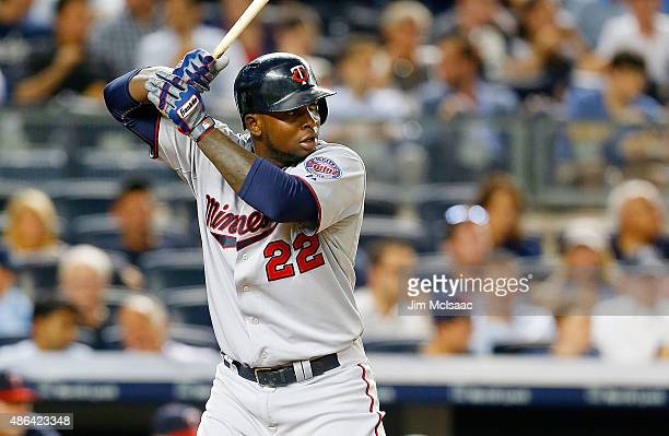 Miguel Sano of the Minnesota Twins in action against the New York Yankees at Yankee Stadium on August 17 2015 in the Bronx borough of New York City...