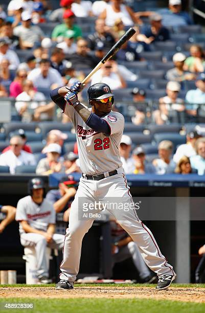 Miguel Sano of the Minnesota Twins in action against the New York Yankees during their game at Yankee Stadium on August 19 2015 in New York City