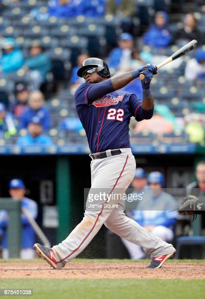 Miguel Sano of the Minnesota Twins in action during the game against the Kansas City Royals at Kauffman Stadium on April 30 2017 in Kansas City...