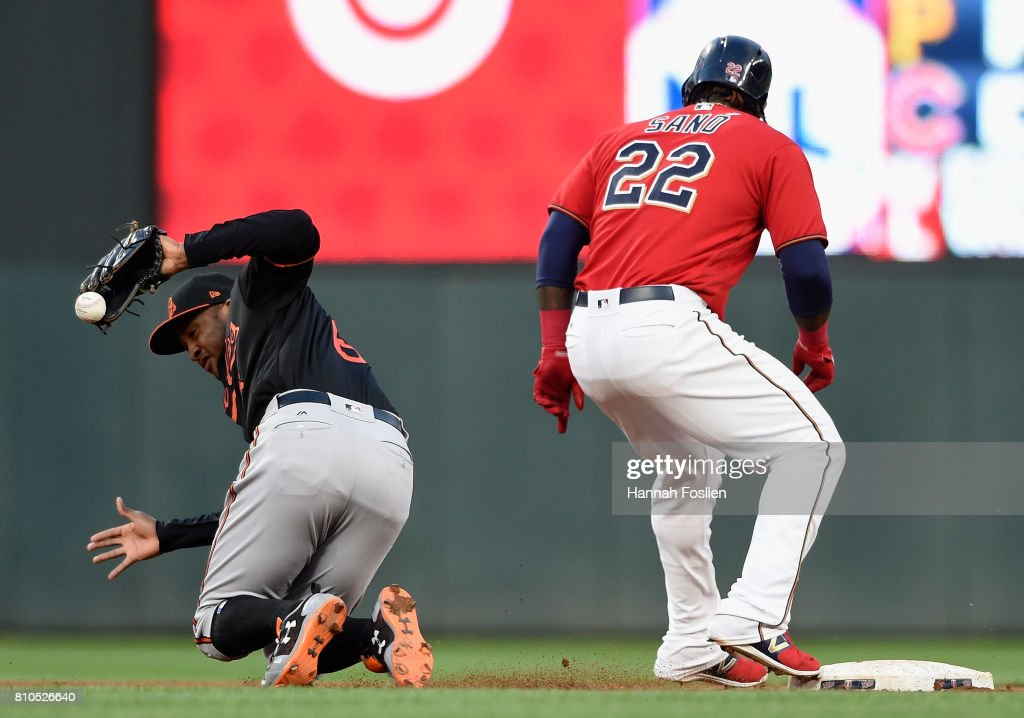 Miguel Sano #22 of the Minnesota Twins is safe at second base as Jonathan Schoop #6 of the Baltimore Orioles fields the ball during the fourth inning of the game on July 7, 2017 at Target Field in Minneapolis, Minnesota.