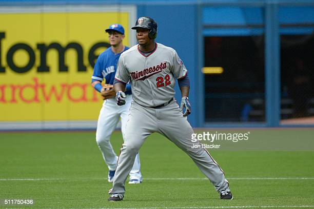 Miguel Sano of the Minnesota Twins leads off second base during the game against the Toronto Blue Jays at the Rogers Centre on Monday August 3 2015...