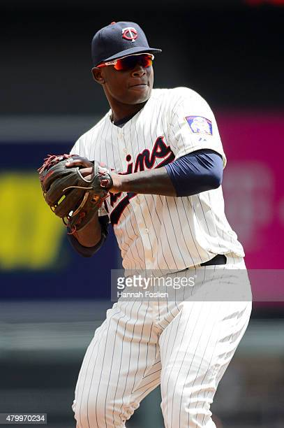 Miguel Sano of the Minnesota Twins makes a play at third base against the Baltimore Orioles on July 8 2015 at Target Field in Minneapolis Minnesota...