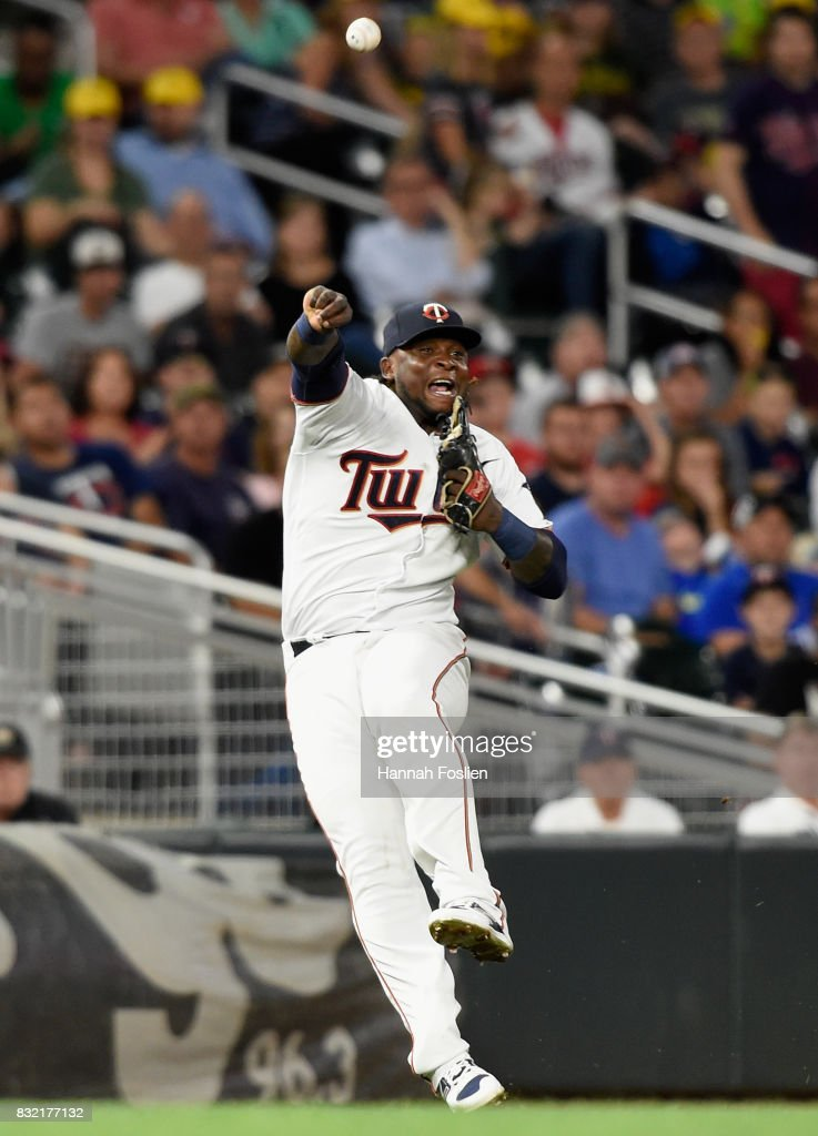 Miguel Sano #22 of the Minnesota Twins makes a play to get out Austin Jackson of the Cleveland Indians at first base during the fifth inning of the game on August 15, 2017 at Target Field in Minneapolis, Minnesota.