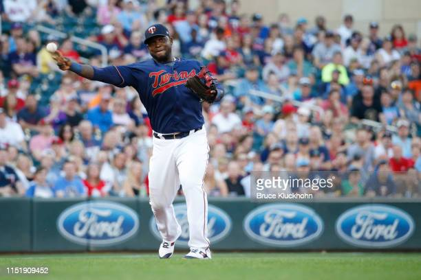 Miguel Sano of the Minnesota Twins makes a throw to first against the Tampa Bay Rays at Target Field on Tuesday, June 25, 2019 in Minneapolis,...