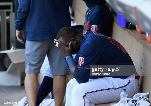 Miguel Sano of the Minnesota Twins reacts in the dugout after being defeated by the Houston Astros in Game Two in the American League Wild Card Round...