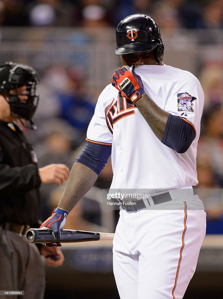Miguel Sano #22 of the Minnesota Twins reacts to striking out against the Kansas City Royals during the sixth inning of the game on October 2, 2015 at Target Field in Minneapolis, Minnesota. The Royals defeated the Twins 3-1.